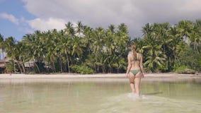 Mujer hermosa que camina en la agua de mar en la isla tropical después de bañar en el día de verano Mujer joven en traje de baño  almacen de video