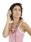 Mujer hermosa que disfruta de música Imágenes de archivo libres de regalías