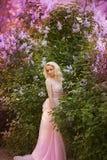 Mujer hermosa que goza del jardín de la lila, mujer joven con las flores en parque verde el caminar alegre del adolescente al air Fotografía de archivo libre de regalías