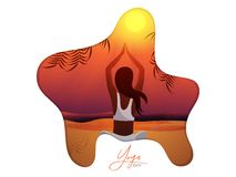 Mujer hermosa que hace la yoga para el cartel o la bandera internacional del día de la yoga imagenes de archivo