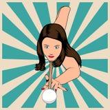 Mujer hermosa que juega billares libre illustration