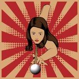 Mujer hermosa que juega billares en fondo rojo del vintage ilustración del vector