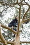 Mujer hermosa que mira hacia el cielo mientras que se coloca en una rama alta Imagen de archivo libre de regalías