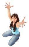 Mujer hermosa que muestra las manos para arriba Fotografía de archivo libre de regalías