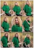 Mujer hermosa que presenta en parque durante la estación del otoño. Muchacha rubia que lleva la presentación verde de la blusa al  Fotografía de archivo libre de regalías