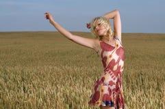 Mujer hermosa que se coloca en campo de trigo Imágenes de archivo libres de regalías