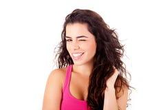 Mujer hermosa que sonríe y que presenta Imágenes de archivo libres de regalías