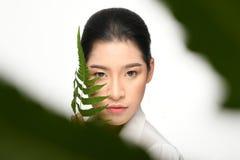Mujer hermosa que sostiene la planta verde fotografía de archivo