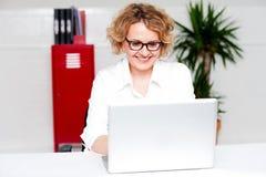 Mujer hermosa que trabaja en labtop Fotos de archivo