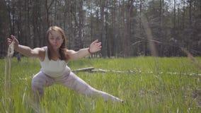 Mujer hermosa sana del retrato que hace la aptitud de la yoga que estira en la naturaleza espectacular del bosque Agraciado magní metrajes