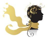 Mujer hermosa, silueta principal stock de ilustración
