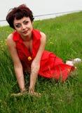 Mujer hermosa sonriente que pone en hierba Foto de archivo