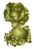 Mujer hermosa - subió la flor, diseño de oro, invitación en un fondo blanco ilustración del vector