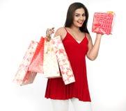 Mujer hermosa una juerga de compras Fotografía de archivo