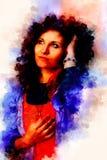 Mujer hermosa y fondo suavemente borroso de la acuarela Imagen de archivo
