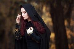 Mujer hermosa y misteriosa joven en bosque, en capa negra con la capilla, la imagen del duende del bosque o la bruja fotografía de archivo