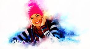 Mujer hermosa y paisaje del invierno Retrato delantero Efecto del arte Foto de archivo libre de regalías