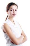 Mujer hispánica en la blusa blanca Fotos de archivo
