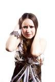 Mujer humillada aislada en blanco Fotos de archivo libres de regalías