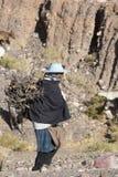 Mujer indígena con el pastor en el Ruta 40, Jujuy argentina Foto de archivo libre de regalías