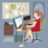 Mujer independiente que trabaja en casa con el ordenador Ejemplo del vector en estilo plano Ilustración del Vector