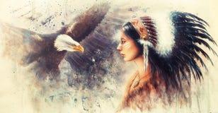 Mujer india joven que lleva un tocado magnífico de la pluma, con a Fotografía de archivo libre de regalías