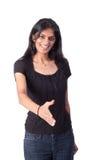 Mujer india lista para un apretón de manos Imágenes de archivo libres de regalías