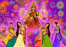 Mujer india que hace la danza del dhunuchi de Bengala durante la celebración de Durga Puja Dussehra en la India libre illustration
