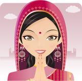 Mujer india que ruega ilustración del vector