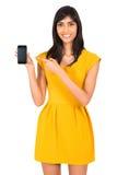 Mujer india que señala el teléfono Foto de archivo libre de regalías