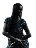 Mujer india   silueta Imagen de archivo