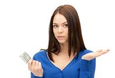 Mujer infeliz con el dinero euro del efectivo Fotografía de archivo