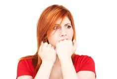 Mujer infeliz del redhead Fotografía de archivo