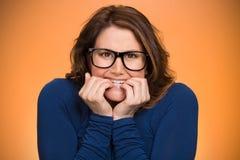 Mujer insegura ansiosa Imagen de archivo
