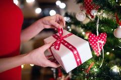 Mujer irreconocible delante del árbol de navidad con el presente imágenes de archivo libres de regalías
