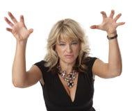 Mujer irritable en menopausia imagen de archivo libre de regalías