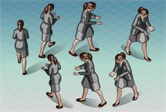 Mujer isométrica ese que transporta algo Fotografía de archivo libre de regalías