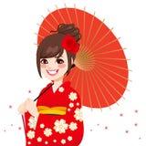 Mujer japonesa asiática del paraguas ilustración del vector