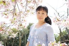 Mujer japonesa con la flor de cerezo Foto de archivo libre de regalías