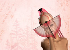 Mujer japonesa del geisha con el ventilador rosado Foto de archivo libre de regalías