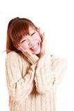 Mujer japonesa joven satisfecha Imagen de archivo libre de regalías