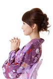 Mujer japonesa que ruega Fotografía de archivo