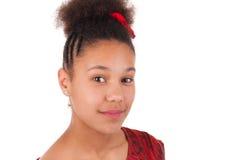 Mujer joven afroamericana con el pelo afro Imagenes de archivo