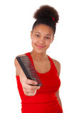 Mujer joven afroamericana con el pelo afro Imagen de archivo
