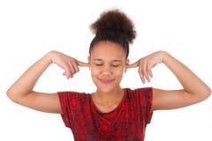 Mujer joven afroamericana con el pelo afro Fotos de archivo