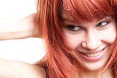 Mujer joven alegre con la expresión tímida linda Fotografía de archivo