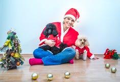 Mujer joven alegre en el equipo de la Navidad acompañado por dos caniches dulces Imagenes de archivo