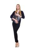 Mujer joven alta en ropa negra con el bolso Imagen de archivo libre de regalías