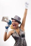 Mujer joven annoncing Foto de archivo