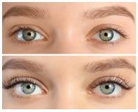Mujer joven antes y después del procedimiento de la extensión de la pestaña imagenes de archivo